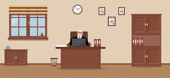 An elderly businessman sitting in the workplace in a spacious office on a cream background stock illustration