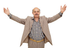 Elderly businessman spread his arms wide Royalty Free Stock Photos