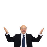 Elderly businessman or teacher greets visitors or students Stock Photography