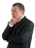 Elderly businessman is thinking about something isolated on whit stock photos