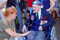 Leeuwarden, Netherlands, May 5 2018, Elderly Canadian war veteran medals Liberation Day. Elderly Canadian war veteran of the second world war is talking with stock photos