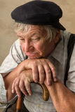 Elderly with cane Stock Photography