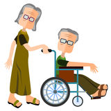 Elderly care. Abstract old female character pushing a old male character sitting in a wheel chair Stock Photos
