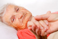 Elderly care. Caregiver holding elderly patients hand at home stock images