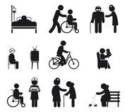 Elderly care icons Stock Photography