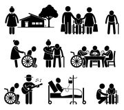 Elderly Care Nursing Retirement Home Cliparts. Pictogram of old folk home and retirement center. There are nurses, family sending their parent, old man on wheel Royalty Free Stock Image