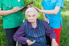 Elderly care outdoor Royalty Free Stock Photos
