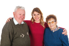 Elderly care. Picture of an elderly couple with their young caregiver Stock Photo