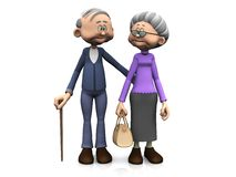 Elderly cartoon couple. Royalty Free Stock Images