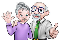 Elderly Cartoon Couple. Cartoon senior elderly grandparents couple Royalty Free Stock Image