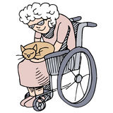 Elderly Cat Lover. An image of a disabled woman holding her cat Royalty Free Stock Photo