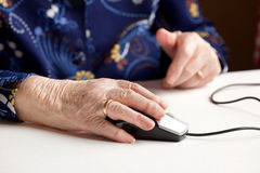 Elderly with Computer Stock Photo