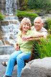 Elderly couple. Smiling happy elderly couple in summer park royalty free stock photography