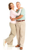Elderly couple. Happy elderly couple in love. Isolated over white background royalty free stock photo