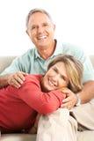 Elderly couple. Happy elderly couple in love. Isolated over white background stock photos
