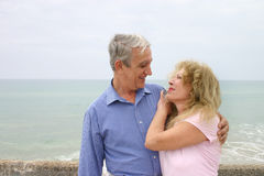 Elderly couple. Mature couple in a romantic moment Stock Image