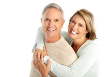 Elderly couple. Happy elderly couple in love. Isolated over white background stock photo