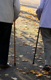 Elderly couple. With two sticks walk Stock Photos