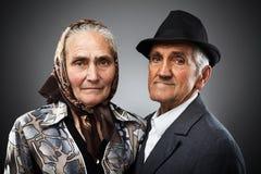 Elderly couple. Portrait of an elderly couple in studio Stock Photos