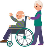 Elderly couple. An elderly woman with her husband in a wheelchair royalty free illustration