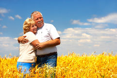 Elderly couple. Smiling happy  elderly couple in love outdoor Royalty Free Stock Images