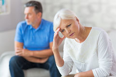 Elderly couple arguing. Mature Couple In A Quarrel royalty free stock photo