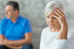 Elderly couple arguing. Mature Couple In A Quarrel Royalty Free Stock Image