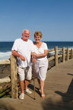 Elderly couple on beach Stock Photos