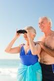 Elderly couple bird watching Stock Image