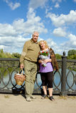 Elderly couple on bridge Royalty Free Stock Photo