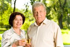 Elderly couple celebrating Royalty Free Stock Photography