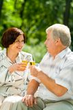 Elderly couple celebrating Stock Photo