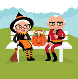 Elderly couple celebrating Halloween royalty free illustration
