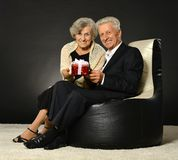 Elderly couple celebrating holiday Stock Image