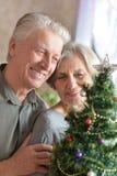 Elderly couple celebrating new year Royalty Free Stock Photography