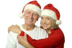 Elderly couple celebrating new year Stock Photography