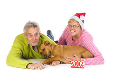 Elderly couple for christmas royalty free stock image