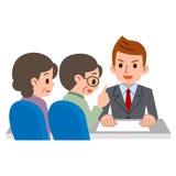 Elderly couple consult with adviser stock illustration