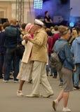 Elderly couple dancing. stock photography