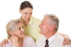 Elderly couple with a daughter Stock Image