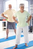 Elderly couple doing exercises Stock Images