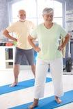 Elderly couple doing exercises. Energetic elderly couple doing exercises in the gym stock images