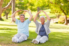 Elderly couple doing their stretches. In the park royalty free stock images