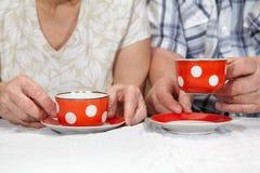 Elderly couple drinking tea Stock Images