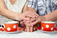 Elderly couple drinking tea Royalty Free Stock Photos