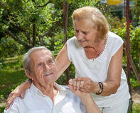 Elderly couple enjoying life together Stock Photos