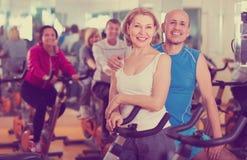 Elderly couple exercising in gym Stock Photos