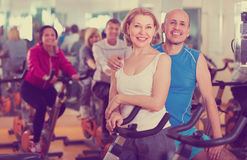 Elderly couple exercising in gym Stock Photos
