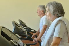 Elderly couple exercising in gym Stock Images