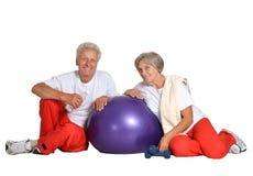 Elderly couple exercising Royalty Free Stock Images
